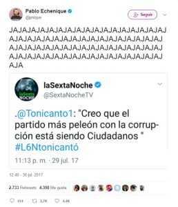 Echenique se mofa de la cara dura de Toni Cantó