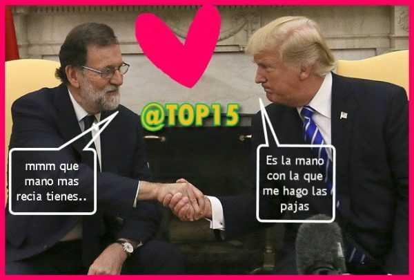 Mariano Rajoy saludando a donald trump